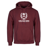 Maroon Fleece Hoodie-Football Helmet Design