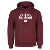 Maroon Fleece Hoodie-Basketball Half Ball
