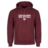 Maroon Fleece Hoodie-Volleyball Stacked