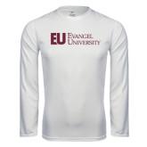 Syntrel Performance White Longsleeve Shirt-Primary Mark Flat