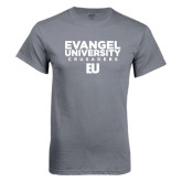 Charcoal T Shirt-Evangel University Crusaders Stacked