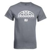 Charcoal T Shirt-Basketball Half Ball Design