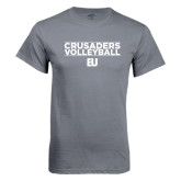 Charcoal T Shirt-Volleyball Stacked Design