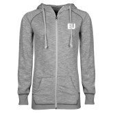 ENZA Ladies Grey/Black Marled Full Zip Hoodie-EU