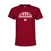 Youth Maroon T Shirt-Basketball Half Ball
