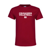 Youth Maroon T Shirt-Volleyball Stacked