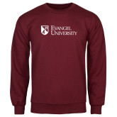 Maroon Fleece Crew-Evangel University Stacked