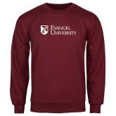 Maroon Fleece Crew-Evangel University Stacked