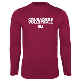 Performance Maroon Longsleeve Shirt-Evangel University Stacked