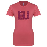 Next Level Ladies SoftStyle Junior Fitted Pink Tee-EU Hot Pink Glitter