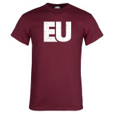 Maroon T Shirt-EU Distressed