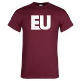 Maroon T Shirt-EU Distressed
