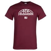 Maroon T Shirt-Basketball Half Ball