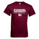 Maroon T Shirt-Evangel University Crusaders Stacked