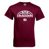 Maroon T Shirt-Basketball Half Ball Design