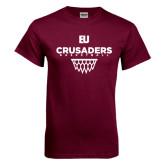 Maroon T Shirt-Basketball Net Design