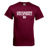 Maroon T Shirt-Volleyball Stacked Design