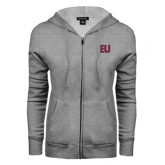 ENZA Ladies Grey Fleece Full Zip Hoodie-EU