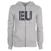 ENZA Ladies Grey Fleece Full Zip Hoodie-EU Graphite Soft Glitter