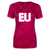 Ladies Pink Raspberry Camohex Performance Tee-EU