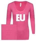ENZA Ladies Hot Pink Long Sleeve V Neck Tee-EU