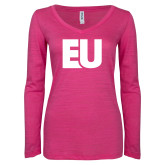 ENZA Ladies Hot Pink Long Sleeve V Neck Tee-EU