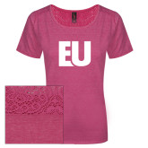Ladies Dark Fuchsia Heather Tri-Blend Lace Tee-EU