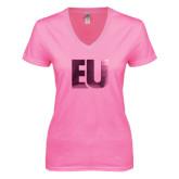 Next Level Ladies Junior Fit Deep V Pink Tee-EU Foil