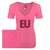 Next Level Ladies Vintage Pink Tri Blend V-Neck Tee-EU Glitter