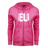 ENZA Ladies Fuchsia Fleece Full Zip Hoodie-EU