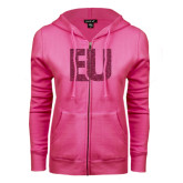 ENZA Ladies Fuchsia Fleece Full Zip Hoodie-EU Glitter