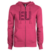 ENZA Ladies Fuchsia Fleece Full Zip Hoodie-EU Hot Pink Glitter