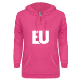 ENZA Ladies Hot Pink V Notch Raw Edge Fleece Hoodie-EU