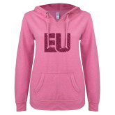 ENZA Ladies Hot Pink V Notch Raw Edge Fleece Hoodie-EU Hot Pink Glitter