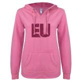 ENZA Ladies Hot Pink V Notch Raw Edge Fleece Hoodie-EU Hot Pink Glitter