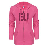 ENZA Ladies Hot Pink Light Weight Fleece Full Zip Hoodie-EU Glitter