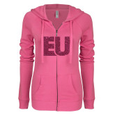 ENZA Ladies Hot Pink Light Weight Fleece Full Zip Hoodie-EU Hot Pink Glitter