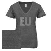 ENZA Ladies Graphite Melange V Neck Tee-EU Glitter