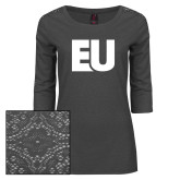 Ladies Charcoal Heather Lace 3/4 Sleeve Tee-EU