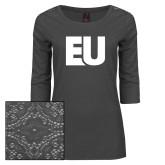 Ladies Charcoal Heather Lace 3/4 Sleeve Tee-EU