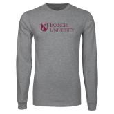 Grey Long Sleeve T Shirt-Evangel University Stacked