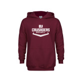Youth Maroon Fleece Hoodie-Baseball Plate