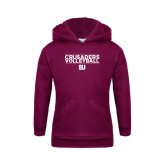 Youth Maroon Fleece Hoodie-Volleyball Stacked Design