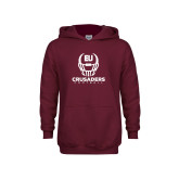 Youth Maroon Fleece Hoodie-Football Helmet Design