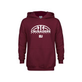 Youth Maroon Fleece Hoodie-Basketball Half Ball