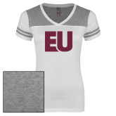 Ladies White/Heathered Grey Juniors Varsity V Neck Tee-EU