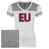 Ladies White/Heathered Grey Juniors Varsity V Neck Tee-EU