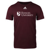 Adidas Maroon Logo T Shirt-Evangel University Stacked