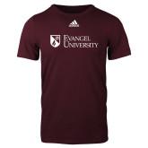 Adidas Maroon Logo T Shirt-Evangel University Stacked