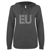 ENZA Ladies Dark Heather V Notch Raw Edge Fleece Hoodie-EU Silver Soft Glitter